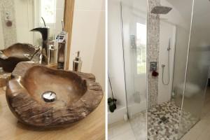 Vasque exotique et douche à l'italienne posées chez un particulier à Tours