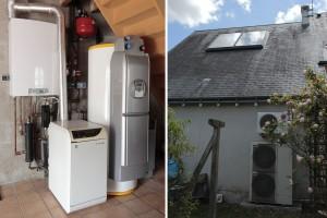 Installation : chaudière gaz basse température + pompe à chaleur air/eau + ballon solaire